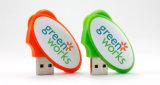 Movimentação oval plástica do flash do USB da forma com impressão feita sob encomenda do logotipo