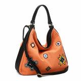 Bolsa de Hobo de lona com emblemas personalizados na moda (MBNO040071)