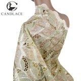 De beige Afrikaanse Stof Handcut van het Kant van Organza van de Polyester