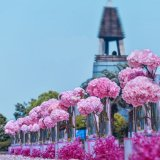 Vase à fleur acrylique de mariage de fil de route