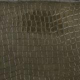 Кожа PU глянцеватого крокодила синтетическая для сумки