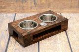 Таможня науглероживала поднятый Brown деревянный фидер любимчика для котов собак