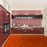 De moderne Modieuze Rode Hoge Glanzende Keukenkasten van het Triplex van de Lak