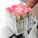 Casella acrilica delle rose di vendita del plexiglass del contenitore caldo di fiore
