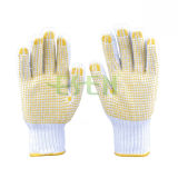 I guanti di funzionamento di Kintted del cotone bianco naturale hanno ricoperto di puntini del PVC su Plam