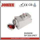 IP67 5p 32A soquete industrial com interruptores e bloqueio mecânico