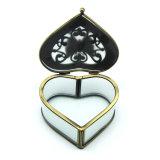 Contenitore di monili di vetro geometrico dell'anello di figura moderna del cuore Hx-7335
