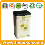 Plato de té cuadrado con estampado, carrito de té, caja de estaño