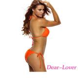 주황색 고삐 2 조각 섹시한 비키니 수영 착용