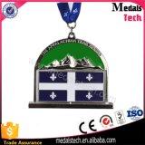 Médailles de module de finition de l'argent 3D d'antiquité de forme de tour pour demi de marathon