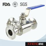 Acero inoxidable sanitario manual de tres vías válvula de bola (JN-BLV1001)