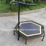 Équipement de fitness en plein air Trampoline hexagonal de saute avec barre de poignée