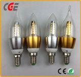 ダイカストで形造るアルミニウム球根4W E27 LEDの蝋燭の球根