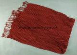 クレープのしわの女性(ABF22005101)のための固体染められたスカーフのふさアクリルのScarve