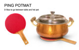 卓球のバット整形耐熱性シリコーンの鍋つかみのシリコーンTrivet Placemat
