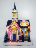 Décoration de Noël en résine plastique 10'' Church House avec des voyants LED, arbres de Noël à l'avant