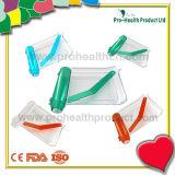 Transparente Pille, die Tellersegment mit Spachtel zählt