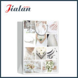 Glossy Laminated Ivory Paper Wedding Jewelry Shopping Sac à papier cadeau