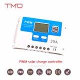20A 30A 12 VOLT 24 volts do controlador de carga solar PWM inteligente com o modo de comando do temporizador ajustável, portas USB e display LCD