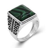 가장 새로운 디자인 사각 녹색 돌 반지