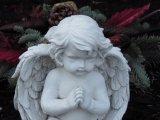 Stein geschnitzte nette kleine Engels-Fehlschlag-Statue