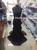 Reizvolles zweiteiliges Schwarz-dritte Abmessung blüht langes Partei-Form-Abend-Kleid