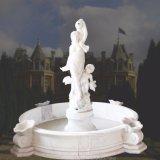 여자 모습, 아기 천사 및 돌고래 동상 T-5414를 가진 자연적인 백색 대리석 샘