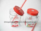 Buen tarro de masón de cristal de la etiqueta de la taza de la calidad 450ml de la venta caliente con la maneta para el festival de la Navidad