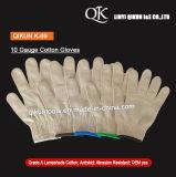 Белым связанные полиэфиром работая перчатки безопасности K-64