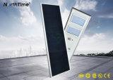100W IP65 긴 리튬 건전지 수용량 통합 태양 가로등
