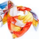 Цифровой Печати атласный шелк Шаль для женщин