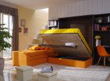 Sepsion vertikale Achse geneigt Schlafzimmer Doppel Faltwand Bett mit Sofa und Boiserie Cabinet Fj-82