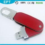 Giro que gira a movimentação de couro do flash do USB de Keychain Emoboss (TL013)