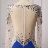 Реальные Фото Королевский синий Русалки длинной втулки вечерние платья