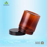 Haustier 250ml versah gerade Plastikglas, bernsteinfarbiges kosmetisches Glas mit Seiten