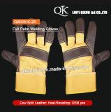 K-28黄色いカラー働く安全牛そぎ皮の完全なやし溶接手袋