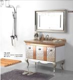 Argento su Floor Modern Mirrored Stainless Steel Bathroom Cabinet Golden (JN-88935)