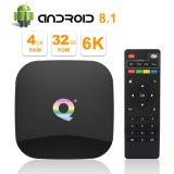 2019 Q Plus Android 8.1 TV Box 4 Go de RAM 32 GO ROM 2.4GHz WiFi à quadruple coeur Cortex-A53 HDMI 3.0 Support 6k 3D/H. 265