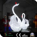 Cisne de acrílico de la escultura LED del marco 3D del metal