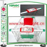 Chariot à achats de supermarché annonçant le panneau