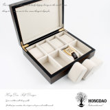 Hongdao Logotipo personalizado de madera de lujo de ver la pantalla de embalaje Caja de regalo con papel aluminio Precio al por mayor _E