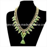 La Joyería de moda/ acrílico de joyas de oro chapado de Material de aleación de zinc con collar de perlas de resina verde Punk Ecológico (PN-155)