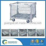 Recipiente de malla de alambre apilable y plegable para almacenamiento en almacén