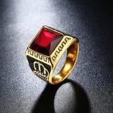 Ring van het Staal van het Titanium van de Vorm van de Kroon van het Glas van de Stijl van Euramerican de Rode Vierkante voor Mensen