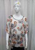 Fashion女性ペーズリーによって印刷されるポリエステル軽くて柔らかいばねの絹のワイシャツ(YKY2216)