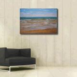 Peinture d'huile de vagues en eau peu profonde
