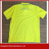 Maglietta gialla stampata in bianco all'ingrosso su ordine di disegno libero di DIY (P154)