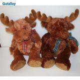 Stuk speelgoed het van uitstekende kwaliteit Reideer van Kerstmis van de Pluche van de Douane met Sjaal vulde Zacht Stuk speelgoed