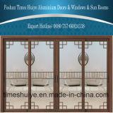 Puertas deslizantes adornadas aluminio de la buena calidad con la doble vidriera