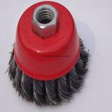 75mm Twist nudo Cup Cepillo de alambre para el taladro para pintar/Óxido extracción